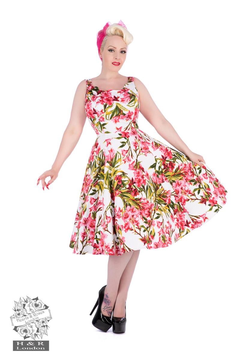 1950s Floral Swing Dress